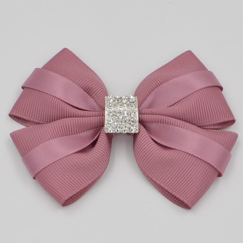 Ny Design Högkvalitativ Ribbon Crystal Diamonds Boutique Girl Women Hair Bows With Clip Hårnålar Hår Tillbehör Barrettes