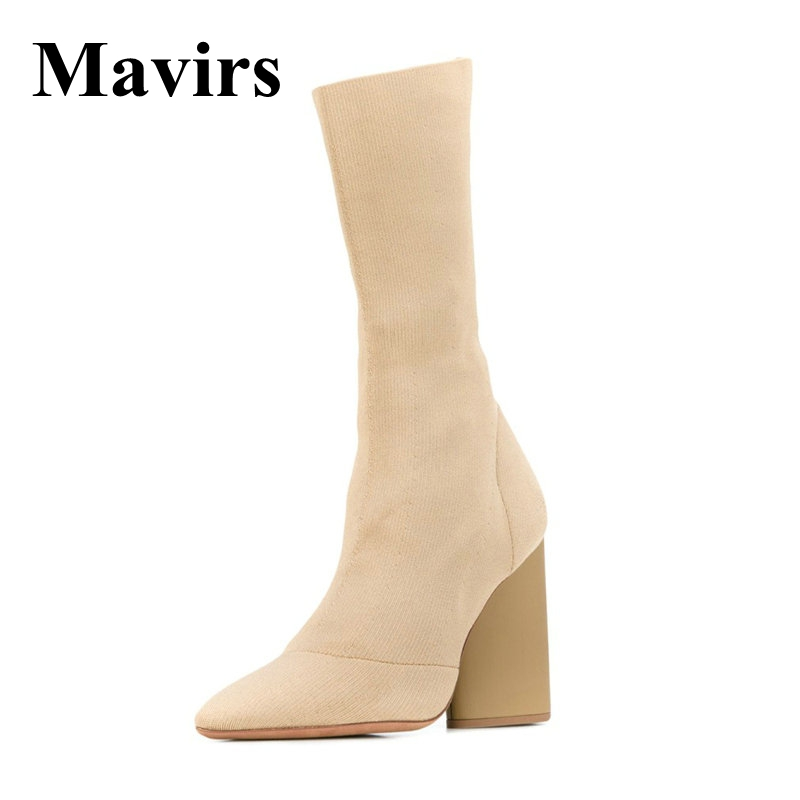 Mavirs Brand Black Beige Sock Ankle Boots For Women Shoes 2018 Sexy 8.5CM Chunky High Heels Booties Pointed Toe US Size 4-10 fashion kardashian ankle elastic sock boots chunky high heels stretch women autumn sexy booties pointed toe women pumps botas
