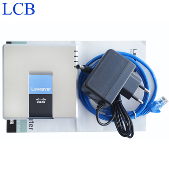 5 pçs/lote SPA2102 Desbloqueado Linksys VoIP Roteador Adaptador de Telefone de Voz com 1 WAN + 1LAN + 2 FXS VoIP Telefone adaptador com caixa de Varejo