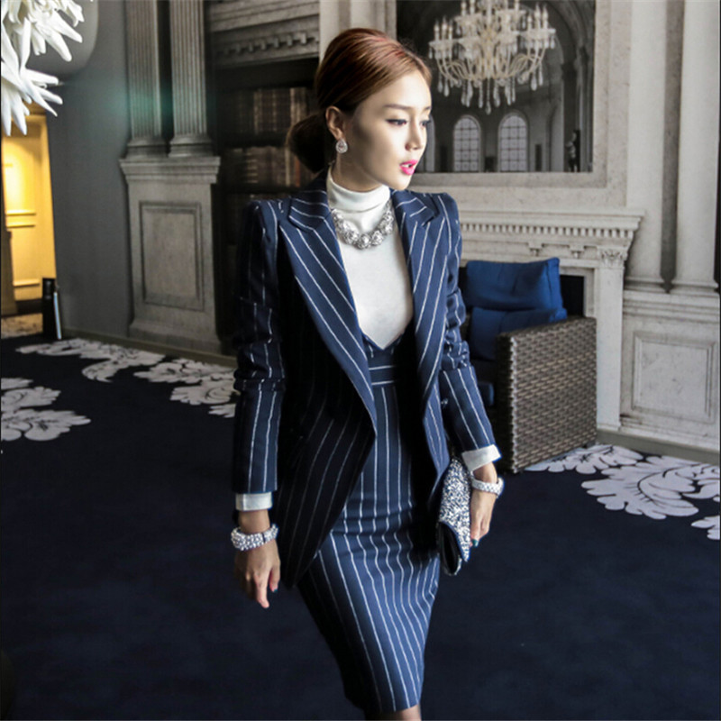 Women Slim Blazer Jacket And Dress Set Bussiness Formal Striped Autumn Spring Women Suits 2 Pieces Set For Office Lady M91423