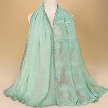 scarf muslim women hijabs head cover bandana cotton lace mujer plain scarfs shawls bufanda 120g hijab