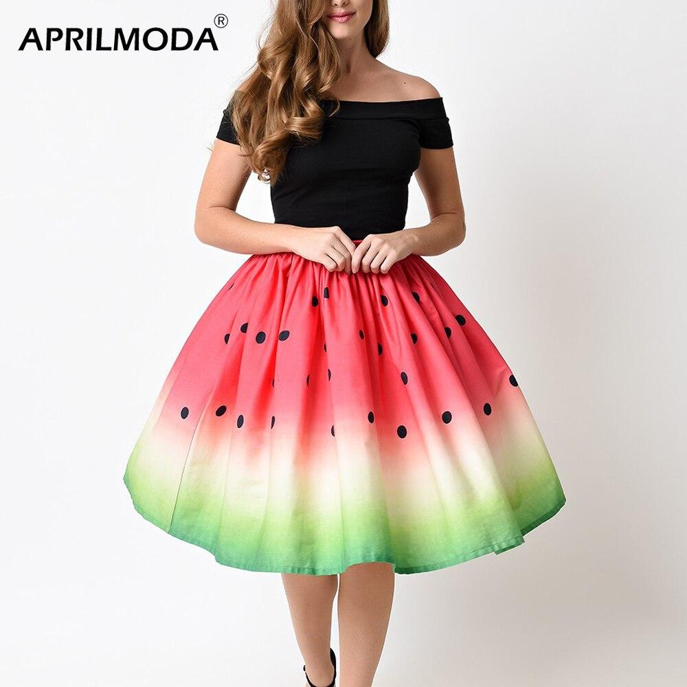 diseño de calidad f3a91 5a2e7 Mujeres verano 50 s 60 s faldas Vintage Retro señora fruta ...