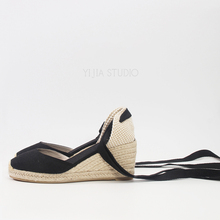 Women Shoes 7cm Wedge Espadrilles 2019 Sping and Summer Closed Toe shoes Classic Espadrilles Heel in white and black color black rope women white slingback shoes lace up ladies strap sandals female wedge ankle espadrilles pumps tie closed toe designer