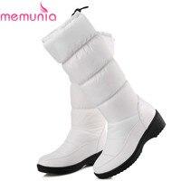 MEMUNIA NUEVO 2018 de la moda caliente de la rodilla botas de nieve de las mujeres ronda dedo del pie de cuero suave caliente abajo invierno gruesa piel de invierno de las señoras zapatos