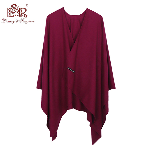 2019 New Fashion Cashmere Winter Women Poncho Scarves Women Solid Shawl Cape Foulard Femme Pashmina Female Bufanda Mujer Sjaal 1