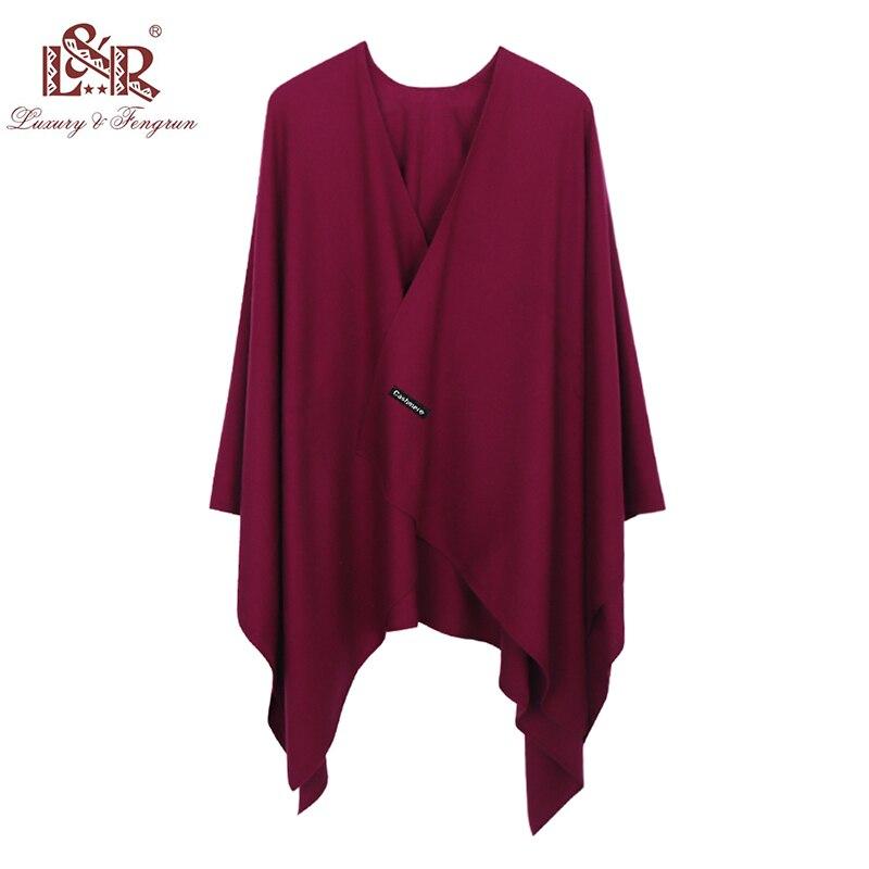 Image 2 - 2019 nueva moda de Cachemira invierno bufandas tipo poncho Mujer sólido chal Fular tipo capa Mujer Pashmina femenina Bufanda Mujer Sjaal-in Bufandas de mujer from Accesorios para la ropa on AliExpress