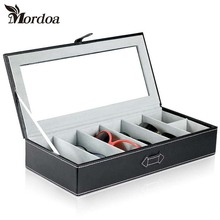 Mordoa Glasses Sunglasses Display Box/Rack Case Jewelry Ring Storage Organizer Holder 7 Grids Gift High Quality Leather