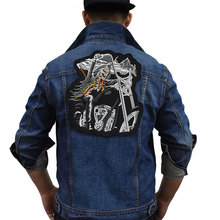 Large Locomotive Iron On Patch Embroidered Applique Sewing Label Punk Biker Patches Clothes Stickers Apparel Accessories Badge