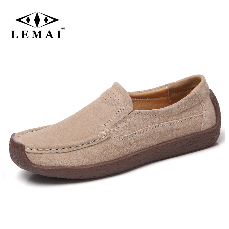 LEMAI 2019 Autumn Women Flats   Leather     Suede   Slip on Loafers Shoes Ladies Ballet Flats Shoes Female Boat Oxford Shoes Moccains