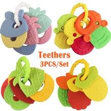 3 шт. зубной прорезыватель для малышей для детей крошечный стержень новорожденное детское стеганое одеяло подарок ко дню рождения Chaw для ручной младенческой силиконовые жевательные Подвески Игрушки для малышей