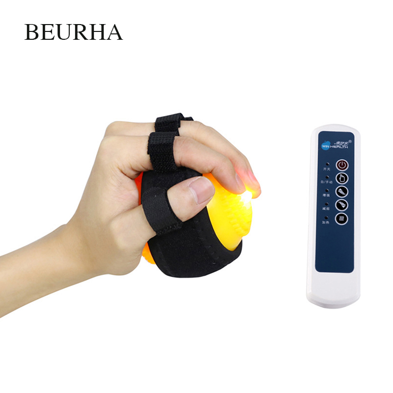 Heating Compress Hand Finger Massage Ball for No Sensory Apoplexy Hemiplegia Inability Curled Physiotherapy Health Relaxation spiky massage ball fitness balls sense to strengthen mini peanut massage ball soft for back foot hand training ball blue red