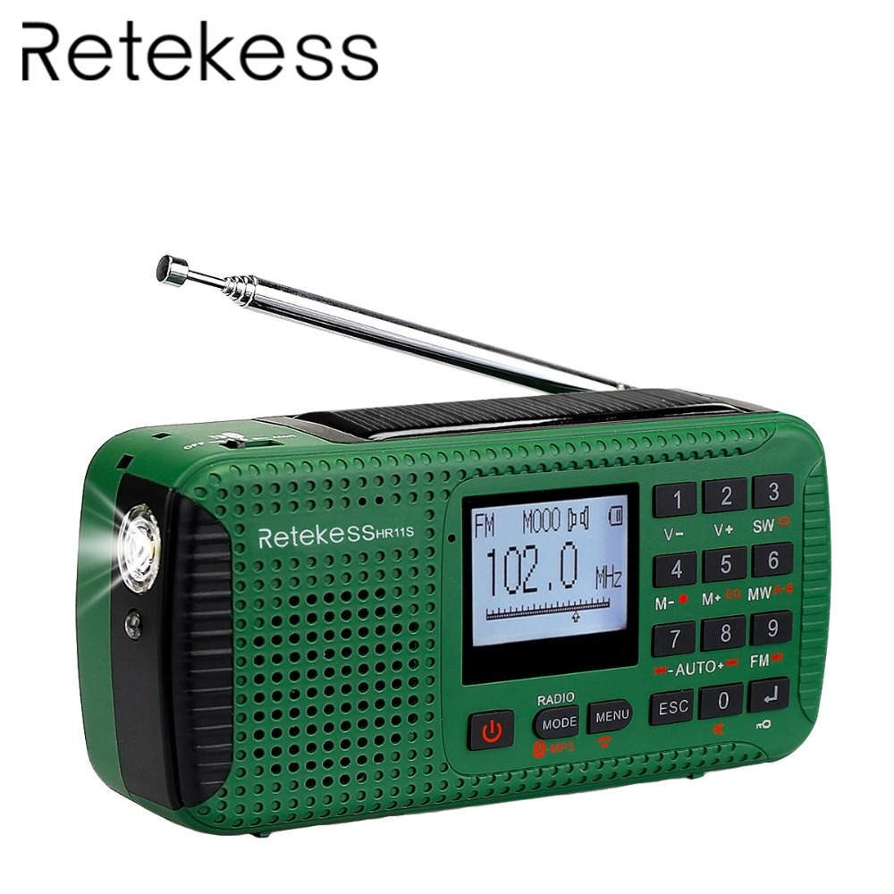 RETEKESS HR11S Portabel Radio Hand Crank Surya Emergency Radio Receiver FM MW SW Dengan Bluetooth MP3 Player Digital Recorder