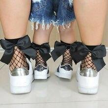 Сетчатые носки для девочек и детей постарше Повседневная эластичная прозрачная в крупную сетку с бантиком до лодыжки, удобные повседневные эластичные прозрачные носки, один размер