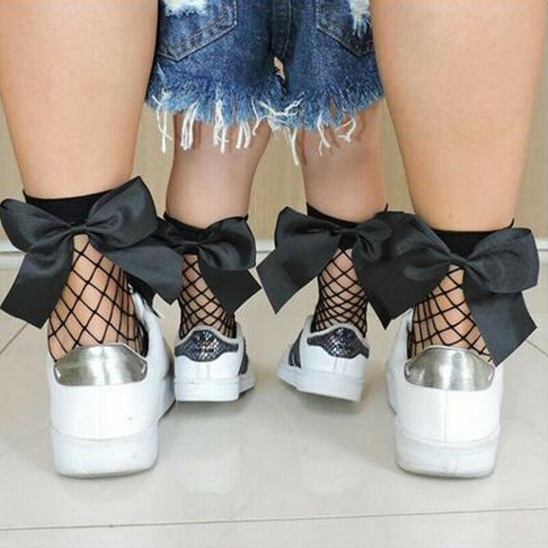 Women Baby Girls Kids Mesh Socks Bow Casual Stretch Sheer Fishnet Net Ankle High Bowknot Comfort Casual Stretch Sheer One Size