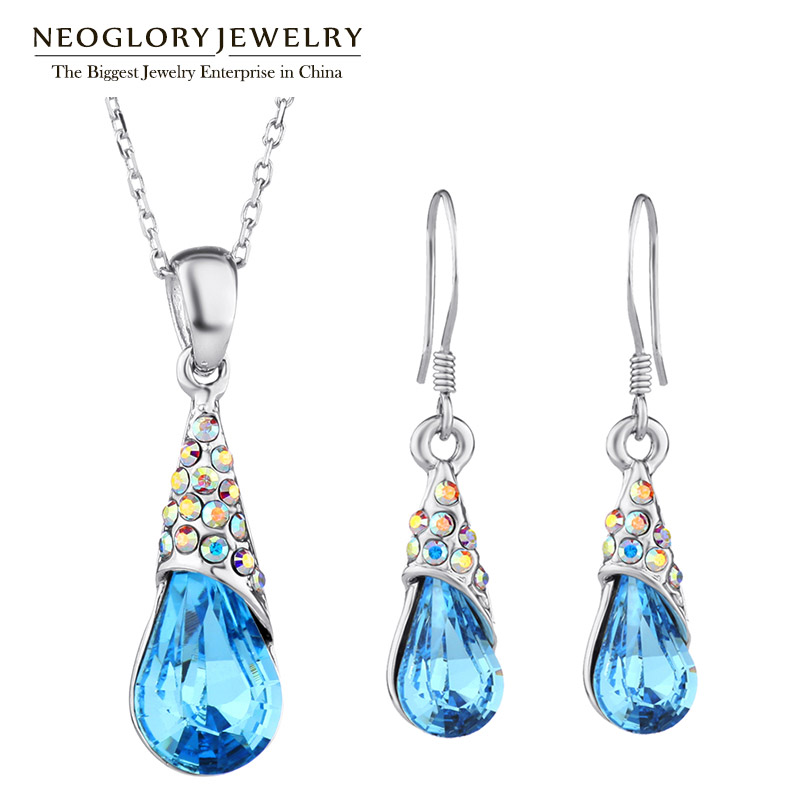 Neoglory Necklaces Pendants Bridesmaid-Sets Indian Jewelry Earrings Gifts Crystal Rhinestone