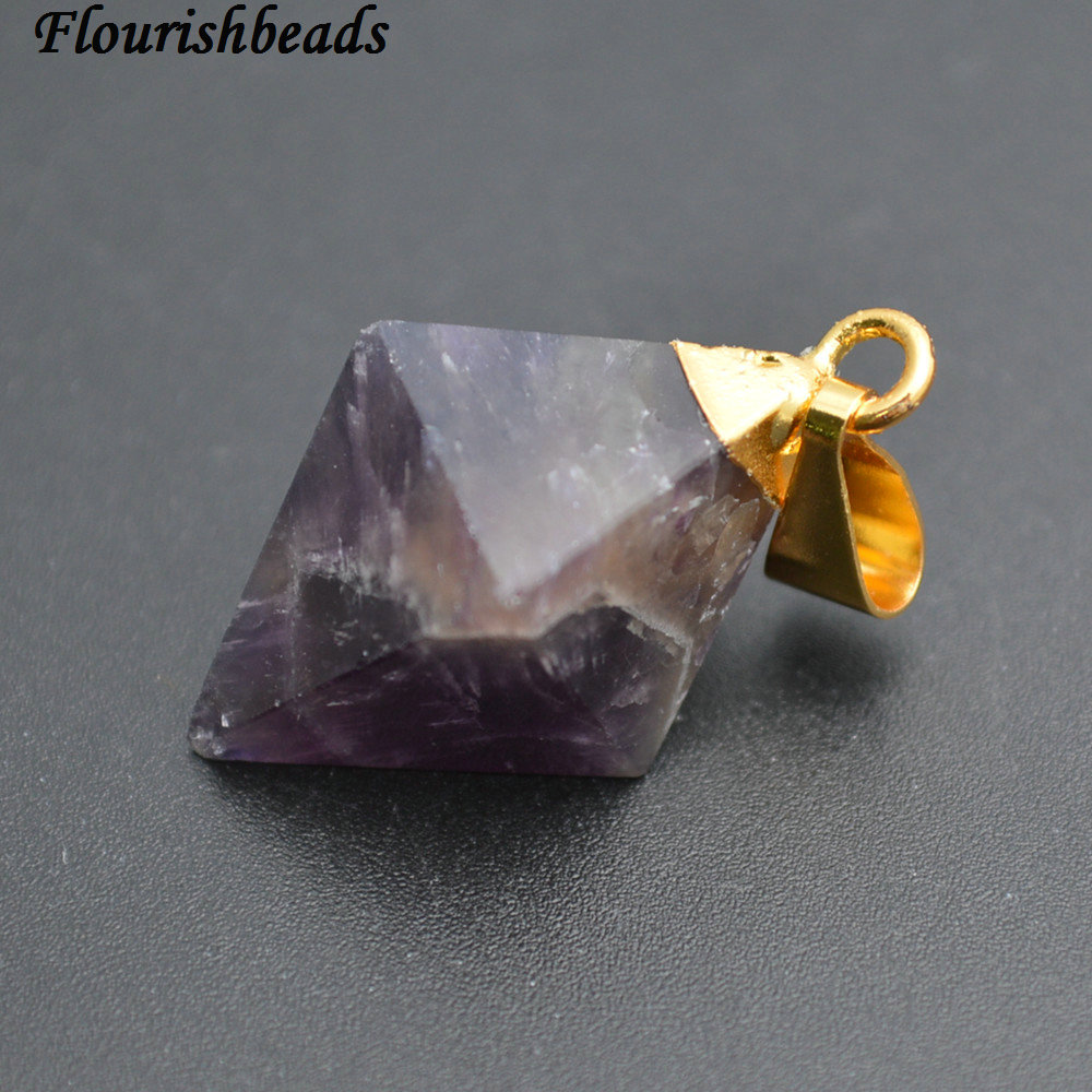 Natural Amethyst Purple Quartz Rhombus Pyramid Stone Point Pendants fit Necklace making 5pc Per Lot