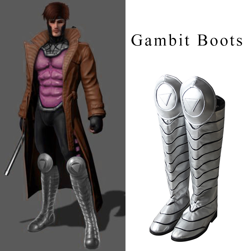 Gambit Cosplay Boots Comic X Men Cosplay Shoes Men High Boots Hot Halloween Christmas Party accessories