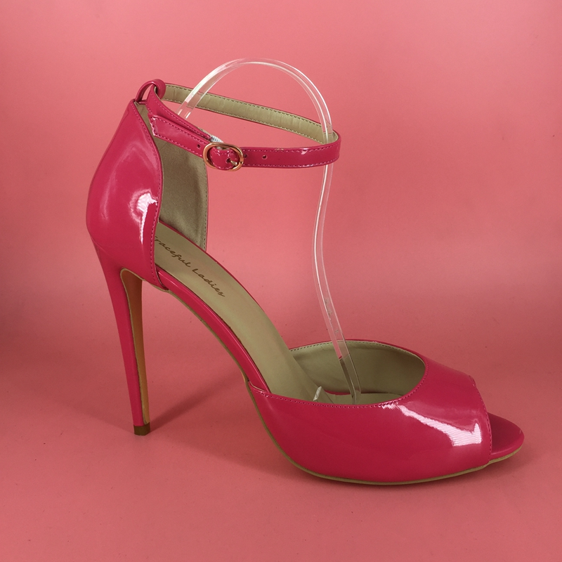 Pink Shiny Women Pump Two Piece Peep Toe Ankle Strap High Heels ...