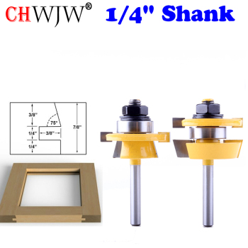 цена на 2PC 1/4 Shank Rail & Stile Router Bit Set - Shaker  door knife Woodworking cutter Tenon Cutter for Woodworking Tools
