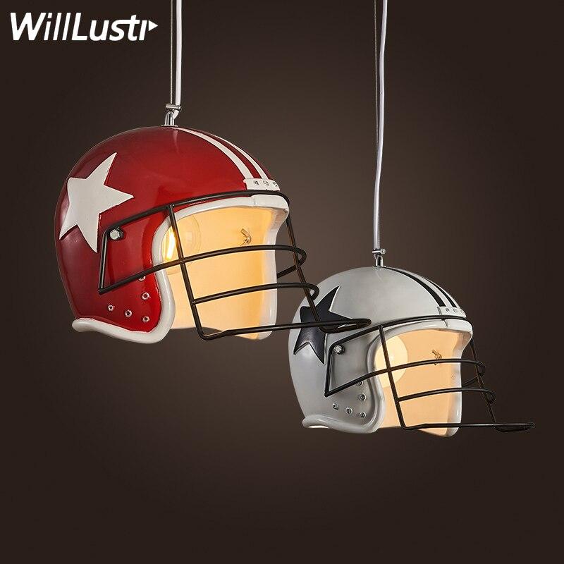Modern Helmet Pendant Lamp Football Helmet Suspension Light Resin Material Lighting Dinning Room Restaurant Hotel Loft Showcase