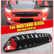 For Mustang Grill grille upgrade Front Kidney Racing ABS Gloss black & Red Fits For Ford MUSTANG Front Bumper Grills 2018-in цена