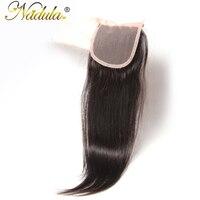 Nadula волос Бразильский прямые волосы Накладные волосы 10-20 дюймов бесплатная часть швейцарских Синтетическое закрытие шнурка волос натураль...