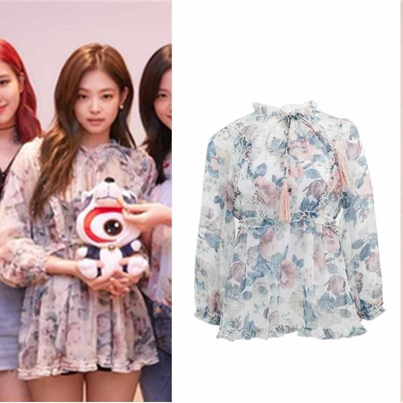 250ab85f0de52 Kpop Blackpink JENNIE 2019 streetwear Harajuku  สดหวานชุดผู้หญิงฤดูร้อนหลวมมุมมองเ ...
