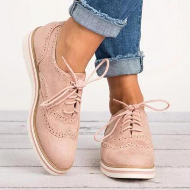קלאסי אנגליה סגנון סתיו נעלי נשים עור מפוצל עבה סוליות שרוך תחרה מקרית אופנה מבטא אירי דירות נעלי Zapatos Mujer