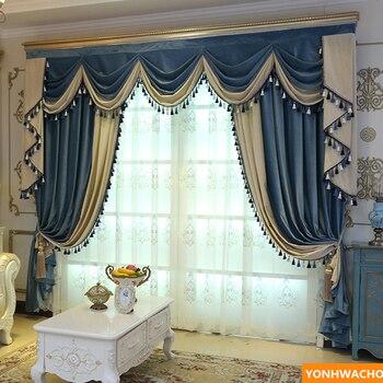 Custom curtains high grade American simple modern grey thick Italian velvet cloth blackout curtain tulle valance drapes N956