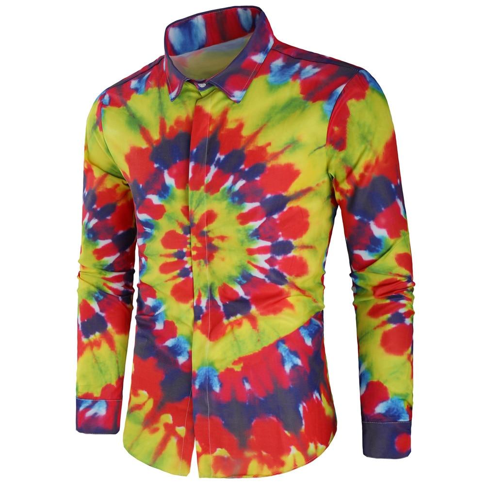 2018 Mode Männlichen Shirts Lange-Ärmel Tops Druck Baumwolle Shirt Herren Hawaiian Kleid Shirts Slim Fit Männer Shirt Chemise Homme