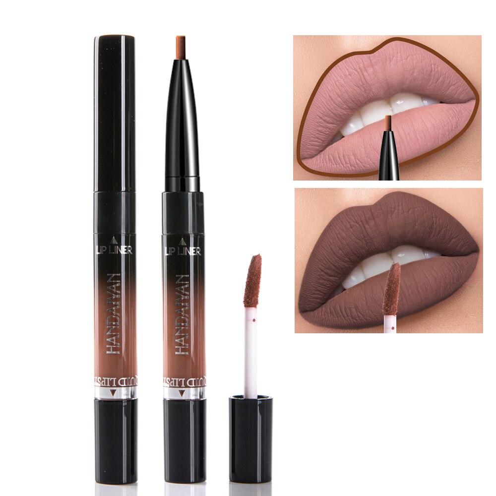 Handaiyan Liquid Lipstick Pink Purple Red Lipgloss Long-lasting Waterproof Nude Mate Lip Liner Pencil Double-end Matte Lipsticks 4