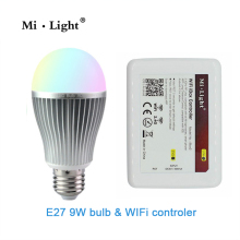 Milight 2.4G E27 Wifi Bulb 9W RGBW RGB White/Warm White Led Bulbs Light +1x Wifi Controller for iPhone iOS Android Smartphone