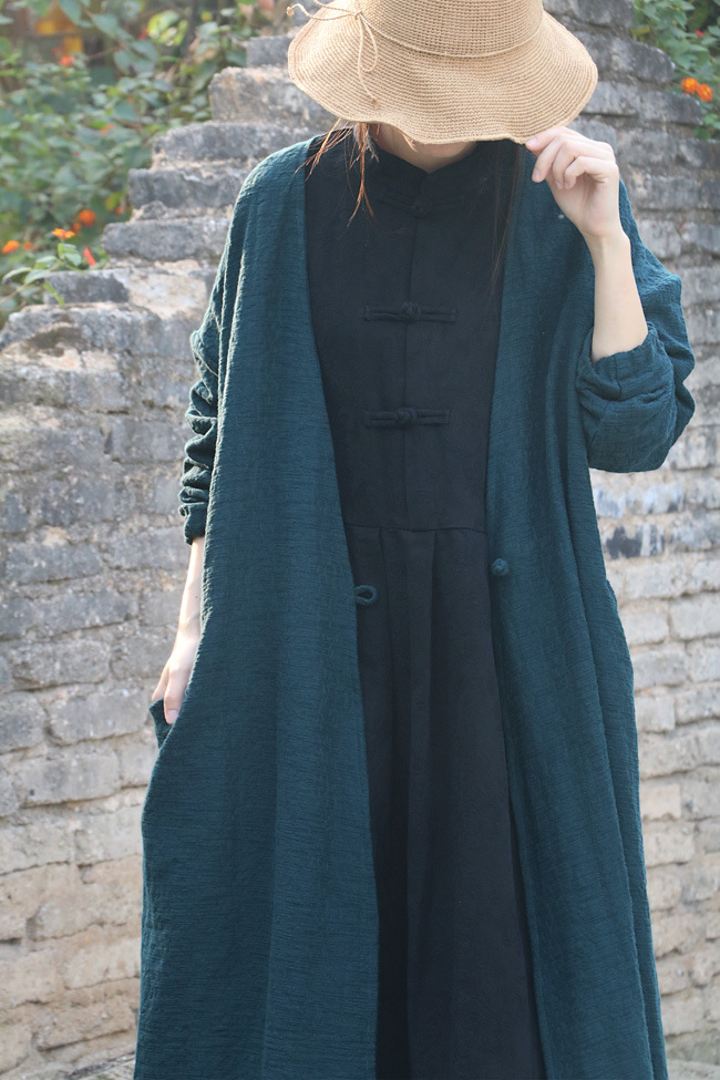 Elegant Long V Neck Big Pocket Jacquard Lady Cotton Linen Cardigan Shirt Spring Autumn Green Red
