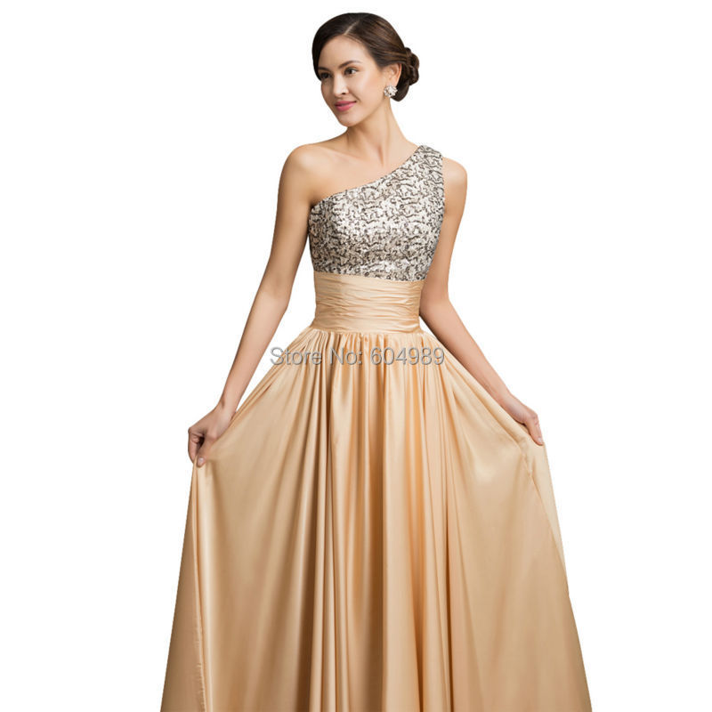One Shoulder Evening Dress Grace Karin Sequin Gold 2018 New Arrival Women  elegant golden Formal Gowns Long dinner Party Dresses-in Evening Dresses  from ... 9541afc07