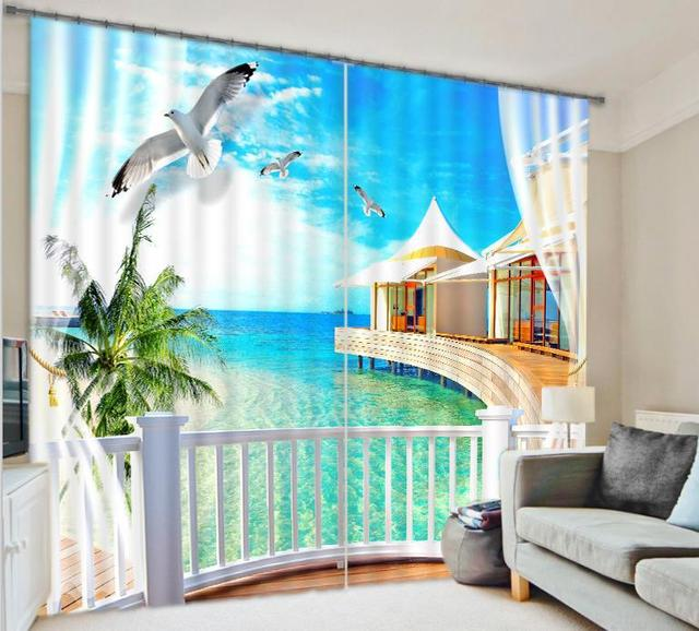 office window curtains roller custom size blue beach sea luxury window 3d curtains drapes for bedroom living room office hotel