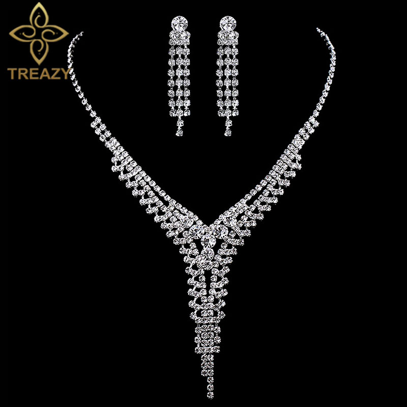 TREAZY 2019 New Fashion Wedding Jewelry Sets for Women Sparkly Rhinestone Crystal Tassels Necklace Earrings Bridal Jewelry Sets