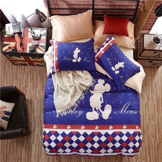 Blue Mickey Mouse Bedding Sets Cartoon 3D Quilt Cover 3/4/5pc Cotton Single Queen Sizes Baby Kids Bedroom Decor 600tc Sheet Set