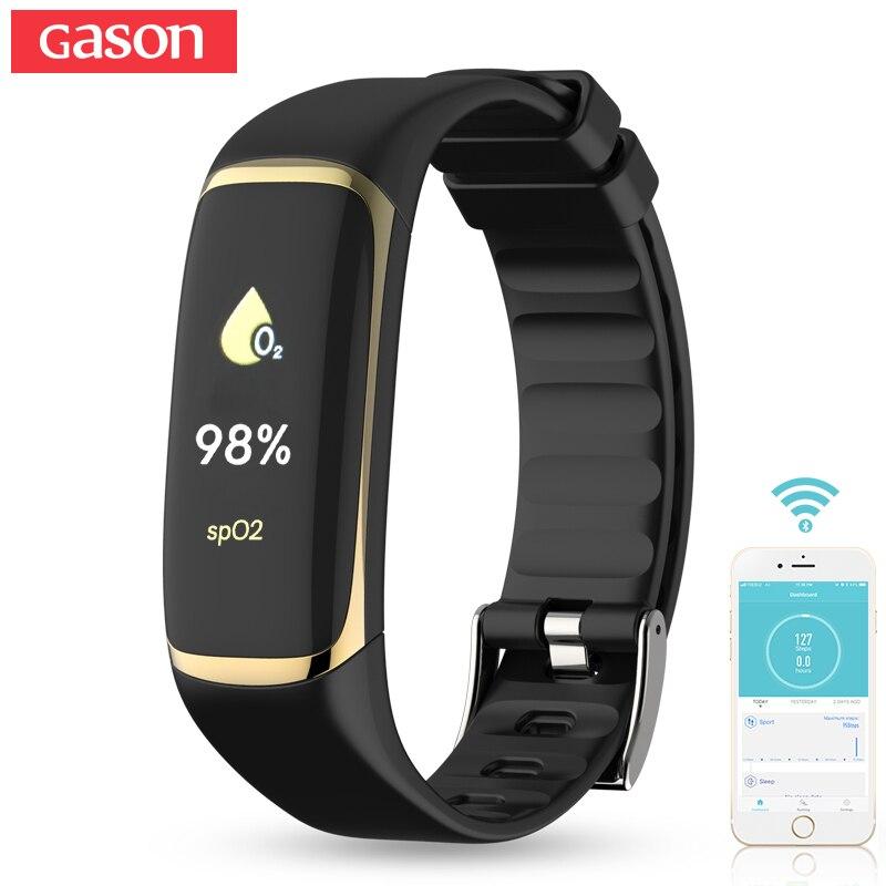 GASON Sport Bracelet Intelligent Bracelet fréquence Cardiaque Moniteur D'oxygène de Remise En Forme De Bracelet de Calories étanche Moniteur De Sommeil Podomètre
