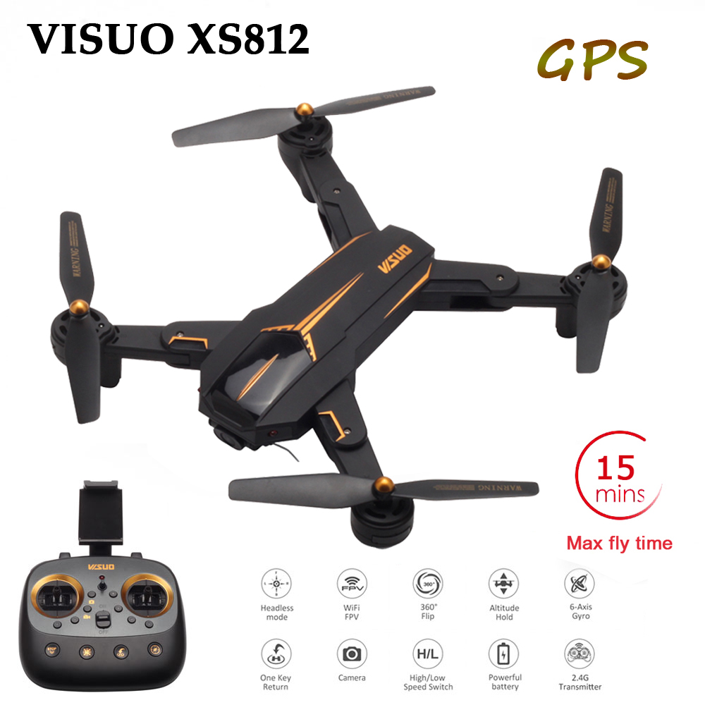 VISUO XS812 Pliable Drone RC avec 2MP/5MP Caméra 5g WiFi GPS Positionnement RC Hélicoptère Maintien D'altitude quadcopter