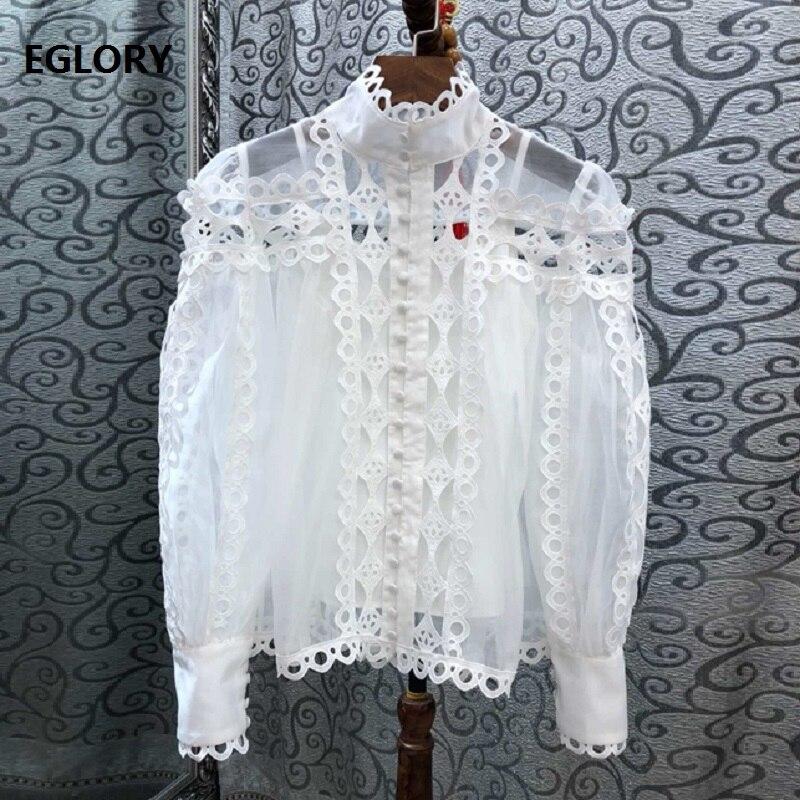 Haute qualité chemise blanche 2019 printemps été mode Blouse femmes Stand cou évider broderie tunique bouton chemise Blusas