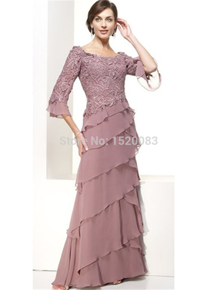 Mothers Dresses For Beach Weddings Plus Size Lace 34 Sleeves Tiered