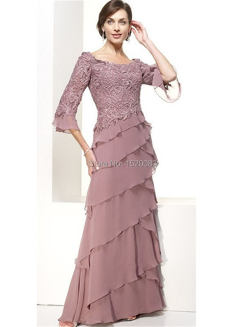 Mothers Dresses For Beach Weddings Plus Size Lace 3 4 Sleeves Tiered Chiffon Vestido De