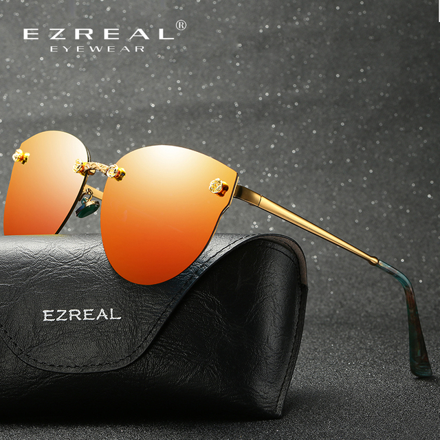 EZREAL Fashion Brand Designer Women Polarized Sunglasses Classic Brand Designer Shades Metal Frame Luxury Sunglasses 382