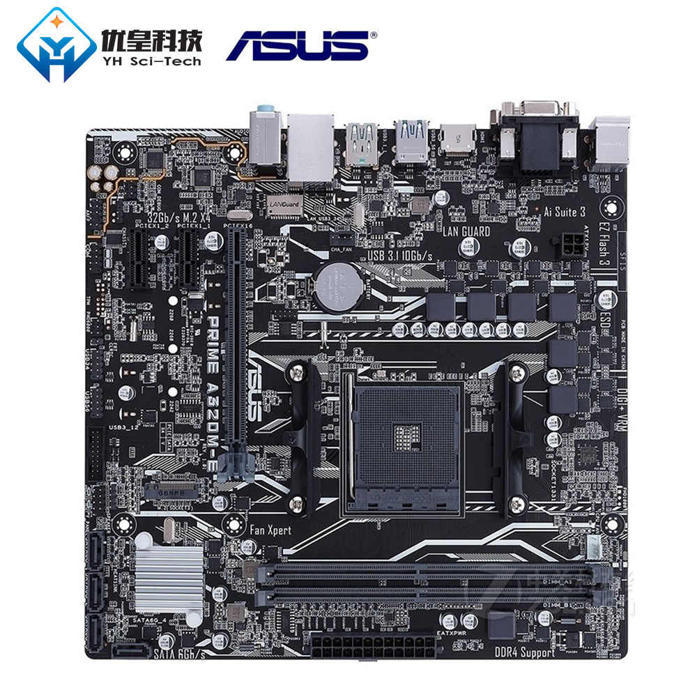Asus رئيس A320M-E AMD A320 الأصلية المستخدمة سطح اللوحة المقبس AM4 AMD Ryzen/أثلون II/أثلون DDR4 32G مايكرو ATX