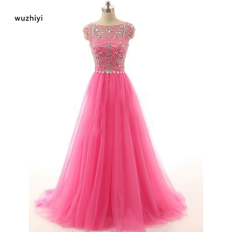 Wuzhiyi Kapmouwtjes kralen Prom dresses 2017 custom made Zachte tulle Crystal roze prom jurk vestido de formatura Nieuwe Collectie