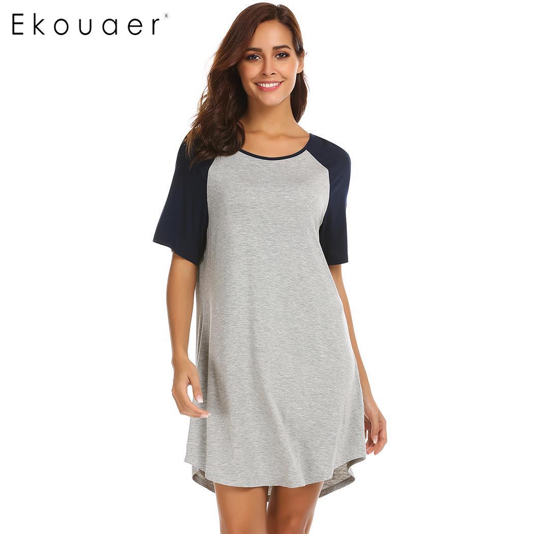 Ekouaer Soft Loose   Nightgown   Nightwer Dress Women Short Sleeve   Sleepshirts   Patchwork Irregular Hem Night Dress Female Nighties