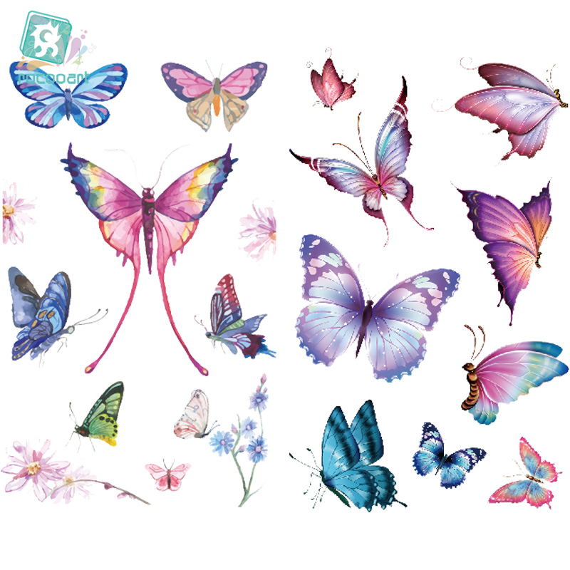 EC771-783 Pink Style Tattoo Sticker Cartoon Children Cute Butterfly Colorful Bees Temporary Tattoo Sticker Body Art Flash Taty