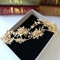 Estilo coreano banhado a ouro liga flor hairband tiara planta hoop cabelo coroa noiva cocar acessórios vestido de noiva atacado