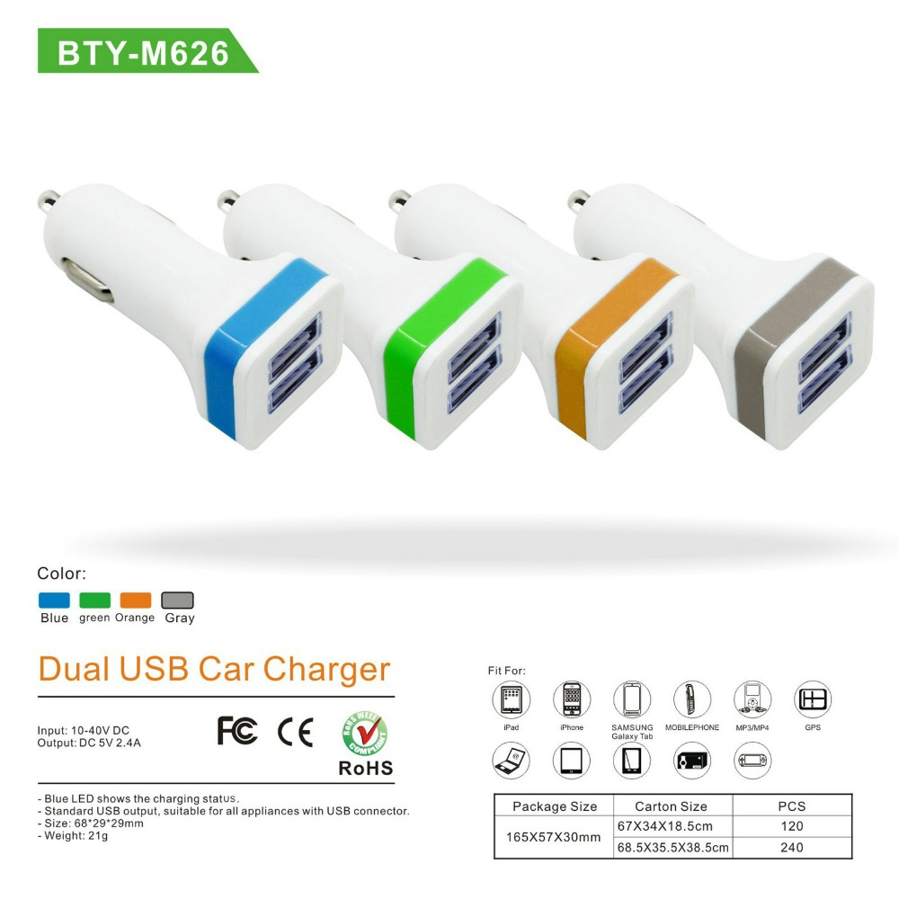 BTY-M626 Dual USB Charger Input- 10-40VDC Output-5.0V/2.4A Car 2xUSB Charger For ipad iphone GPS MP3 Mobile phone