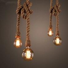 Lámparas colgantes de cuerda de cáñamo Retro Vintage Loft lámpara colgante Industrial para sala de estar cocina luminaria lámpara colgante de decoración para el hogar